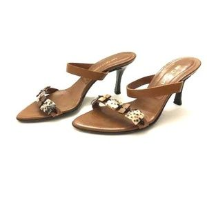 Sergio Rossi Brown Leather Beaded Sandals Heels